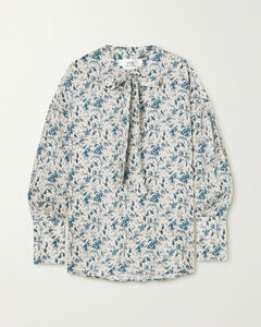 Tie-neck Printed Recycled Twill Blouse