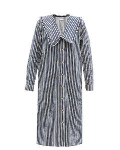 Ruffled-collar striped denim dress