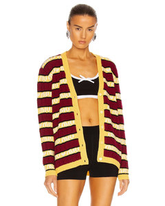 V Neck Striped Cardigan in Red,Yellow