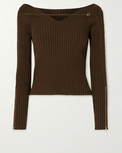 Oro Off-the-shoulder Cutout Ribbed-knit Top