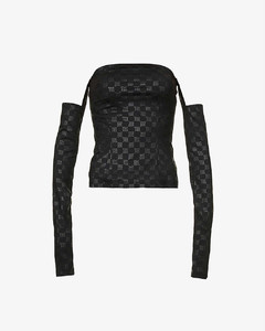 Monogram-print off-the-shoulder stretch-jersey top