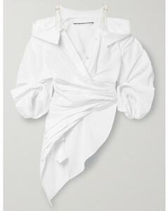 Cold-shoulder Mesh-trimmed Cotton-blend Poplin Top