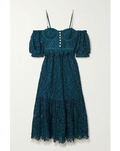 Cold-shoulder Crystal-embellished Corded Lace Midi Dress