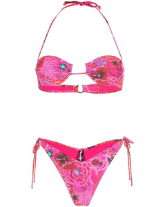 Crepe polo shirt with striped details