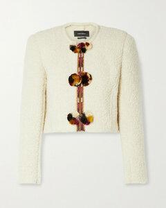 Gradiazi Pompom-embellished Embroidered Wool-blend BoucléJacket