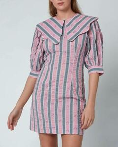 Women's Seersucker Mini Dress - Pink Nectar