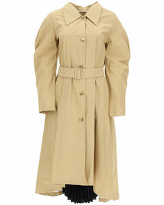 trench coat with pleated insert