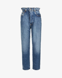 Brand-print relaxed-fit high-rise tapered jeans
