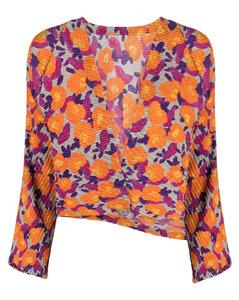 花卉印花褶饰夹克