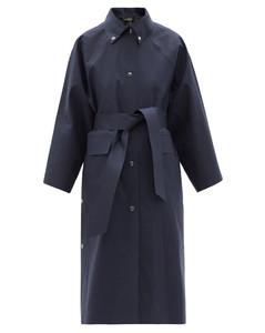 Press-stud belted cotton-blend raincoat