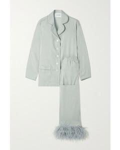 Feather-trimmed Crepe De Chine Pajama Set