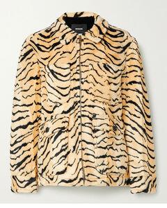 Embellished Printed Faux Fur Jacket