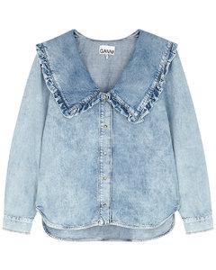 Blue ruffle-trimmed chambray shirt
