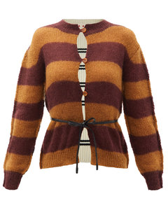 Belted striped wool and mohair-blend cardigan