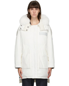 白色Doudoune双面羽绒大衣