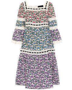 花卉棉質中長連衣裙