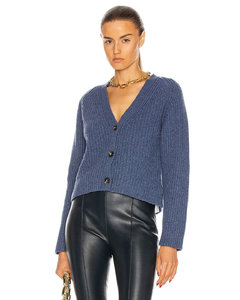 Rib Knit Cardigan in Blue