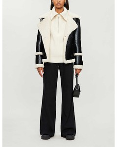 Lilli double-breasted patent faux-shearling jacket