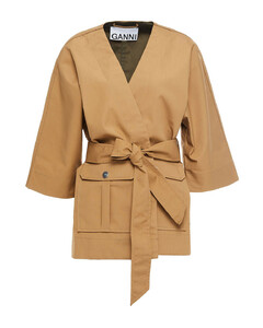 Woman Belted Cotton Jacket