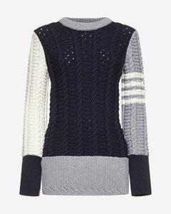 4-Bar color-block merino wool sweater