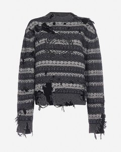 Destroyed wool and cotton-blend sweater