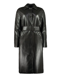 Faux Leather Fabric Coat