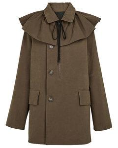 Ruffle-trimmed canvas coat