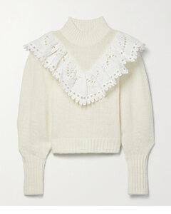 Santos Ruffled Cotton-trimmed Wool-blend Sweater