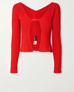 Embellished Ribbed-knit Cardigan