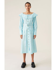 Printed Cotton Poplin Dress - Corydalis Blue