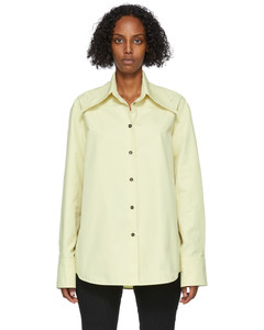 绿色Oversized Collar有机棉衬衫