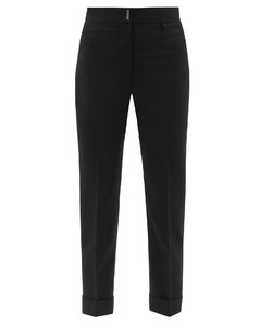 High-rise wool-blend straight-leg trousers