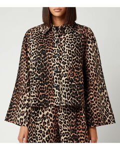 Women's Linen Canvas Jacket - Leopard