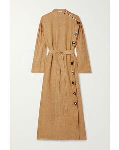 Belted Button-embellished Linen Midi Dress