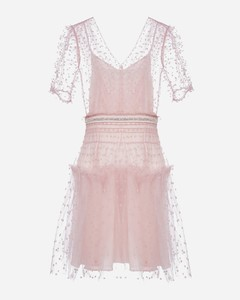 Polka dot mesh mini dress
