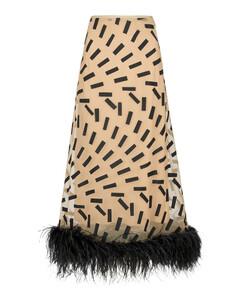 羽毛边饰印花中长半身裙