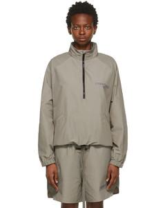 灰褐色半拉链运动夹克