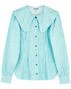 Blue floral-print cotton blouse