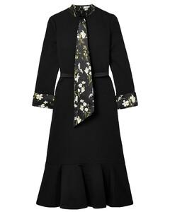 Woman Hilma Belted Floral-print Satin-trimmed Stretch-ponte Midi Dress