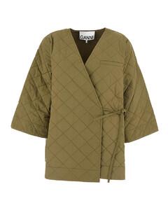 Crop-sleeve quilted coat