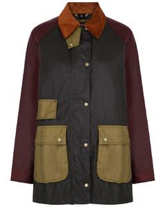 Luss colour-blocked waxed cotton jacket