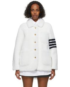 白色4-Bar Sack剪羊毛夹克