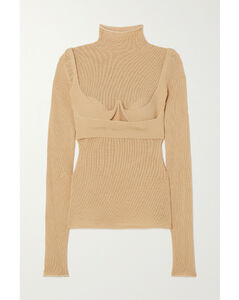 Layered Mesh And Stretch-knit Top