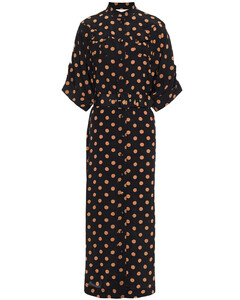 Woman Embroidered Silk Crepe De Chine Midi Shirt Dress