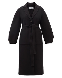 Anagram-patch double-faced wool-blend coat