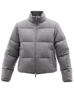 Reversible tricolour-stripe down jacket