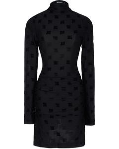 Velour Monogram Long Sleeve Dress - Black