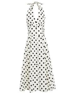 Woman Bellitude Pleated Polka-dot Linen And Cotton-blend Halterneck Midi Dress