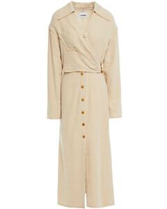 Woman Wrap-effect Alpaca-blend Midi Dress