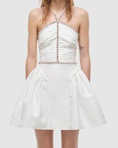 Taffeta Diamante Trim Mini Dress